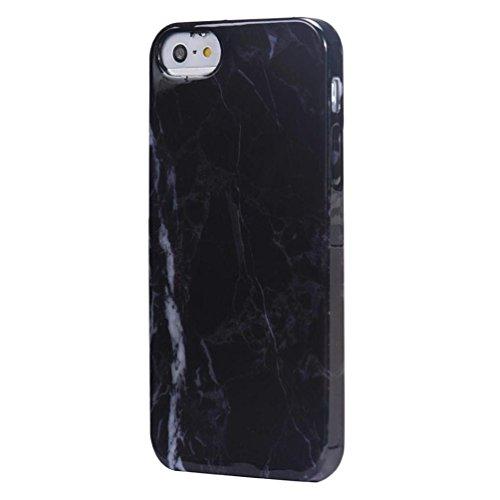 Ouneed® Luxux Marmorbeschaffenheit Druck Abdeckungs Fall Haut Schutzhülle für iPhone SE 5 5S Case Cover (schwarz) schwarz