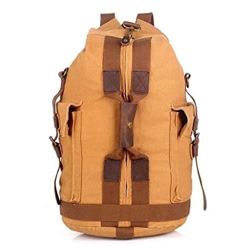 MYXMY Europäische Retro Reisetasche gepäcktasche Bergsteigen Tasche Outdoor Sport Rucksack leinwand Tasche Eimer Rucksack (Farbe : B)
