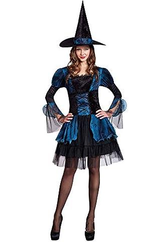 Honeystore Damen's Kostüm Hexe Kleid Hexenhut Halloween Karneval Fasching One Size Schwarz und (Frauen-power Ranger Kostüm)