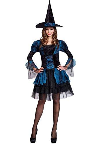 Honeystore Damen's Kostüm Hexe Kleid Hexenhut Halloween Karneval Fasching One Size Schwarz und Blau (Gefallener Engel Kostüm Herren)