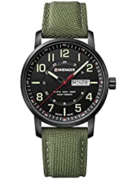 Wenger Men's 'Sport' Swiss Quartz Stainless Steel and Nylon Casual Watch, Color:Green (Model: 01.1541.104)