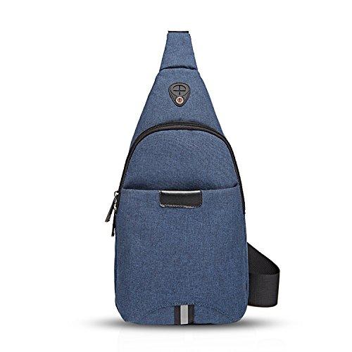 FANDARE Mode Sling Bag Rucksack Umhängetasche Brusttasche Messenger Bag Schultertasche Hiking Bag Daypack Crossbody Bag Chest Pack Sports Reisetasche Polyester Schwarz Blau