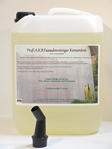 A.K.B. Fassadenreiniger Hochkonzentrat für Hochdruckreiniger ,(KEIN BIOZID !!!) 0395.(10 L Kanister + Gratis-Ausgiesser)