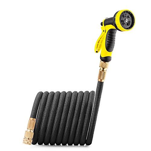 GroHoze Erweiterbarer Flexibler Gartenschlauch Solide Messing Verbinder Wasserschlauch mit 10 Funktion Spritzpistole - 75FT(23M) Schwarz