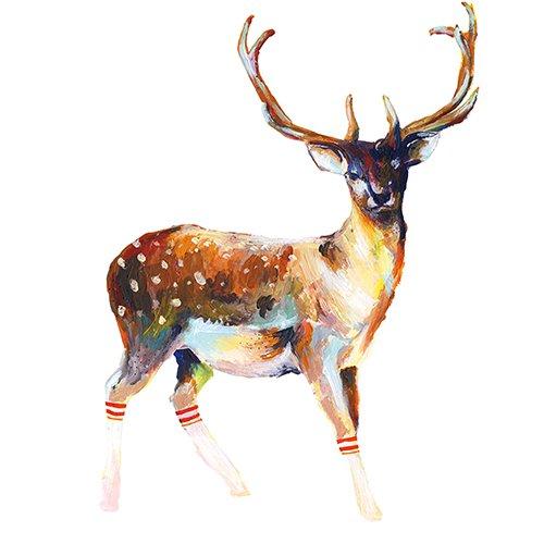 Roommates 54374rm–renna con calze adesivo da parete, pvc, multicolore, 13x 2,5x 45,5cm