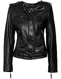 Veste en cuir bordeaux pour femme