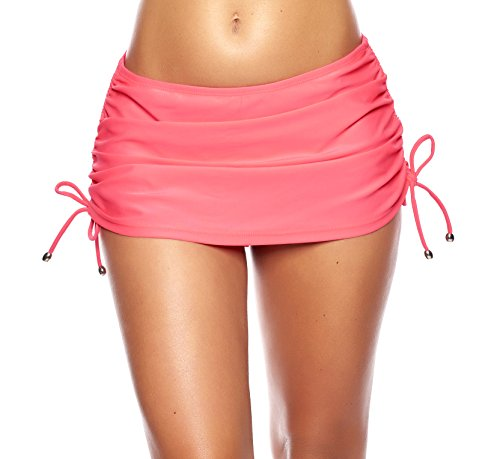 Micro-damen-rock (Raffinierter Damen Bikini/Strand Rock mit integrierter Hose/Volant f3642 Farbe: R4-1295 Rosa, Gr. 42)