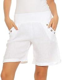3943951c3a0101 Mississhop Damen Leinenshorts Bermuda lockere Kurze Hose Freizeithose 100%  Leinen Shorts Elegante Haremshose mit Knöpfen…