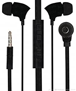 With Volume Control In Ear Bud Headset Earphones With Mic Compatible For AlcatelOne Touch POP C9 -Black