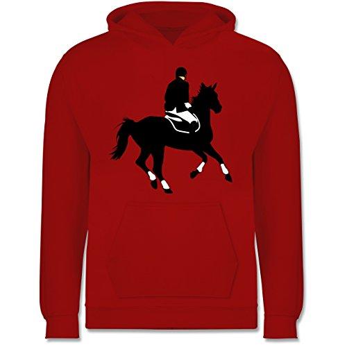 Reiter-kinder Hoodie (Sport Kind - Dressur Pferd Reiter Dressurreiten - 12-13 Jahre (152) - Rot - JH001K - Kinder Hoodie)