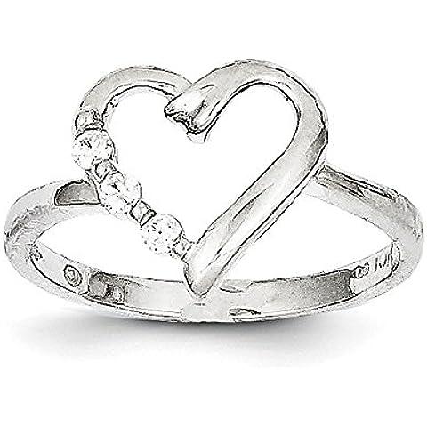 Oro bianco 10 K .10ct Rough Diamond-Anello a forma di cuore, misura L 1/2 alto grado di oro 9 K, colore: oro