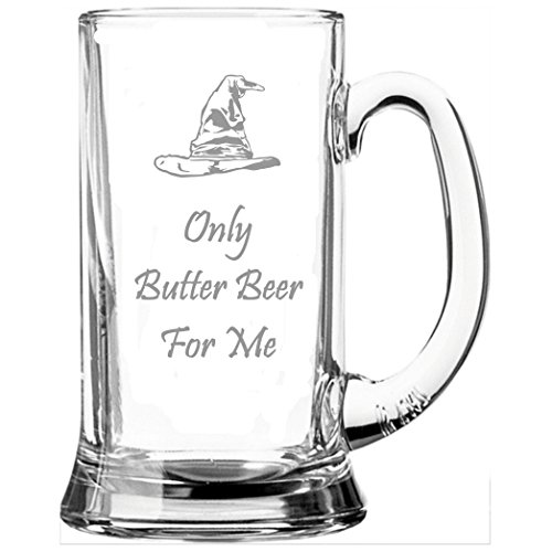 "Glas-Bierkrug, an Harry Potter angelehnt, mit Aufschrift ""Only Butter Beer For Me"""