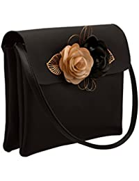 TAP FASHION Fancy Stylish Party Wear Women's Sling Bag With 3d Rose Flower - B07DQQXX8Y