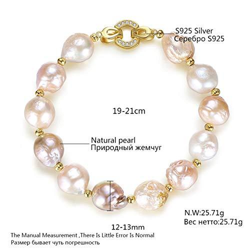 HUSHOUZHUO Süßwasser Natürliche Perle Strang Armband 12-13Mm Multi Farbe Barock Trendy Armband Für Frauen Schmuck Geschenk Großhandel