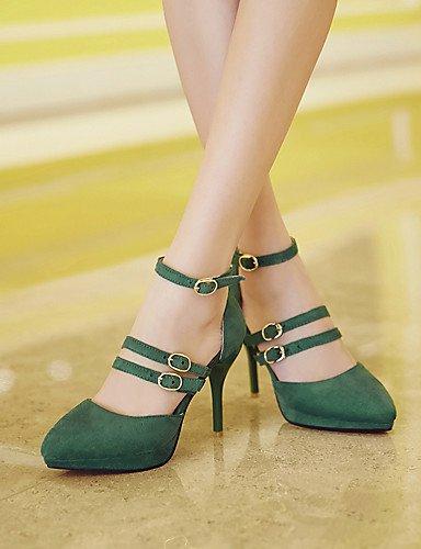 GS~LY Da donna-Tacchi-Formale / Serata e festa-Tacchi-A stiletto-Pelliccia-Nero / Verde green-us6.5-7 / eu37 / uk4.5-5 / cn37