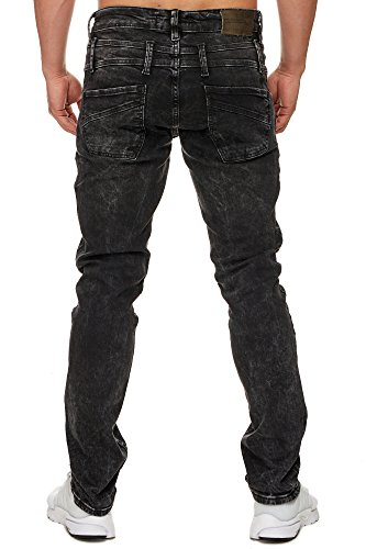 TAZZIO Slim Fit Herren Stretch Jeans Hose Denim 16535 schwarz 32/32 - 4