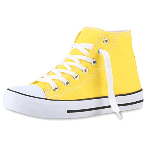 Bequeme Canvas Sneakers | High-Cut Modell | Basic Freizeit Schuhe | Viele Farben und Muster | Gr. 36-42 Gelb Giallo