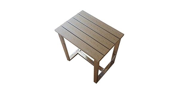 Hammam sgabello da doccia in acciaio inox e resina in legno