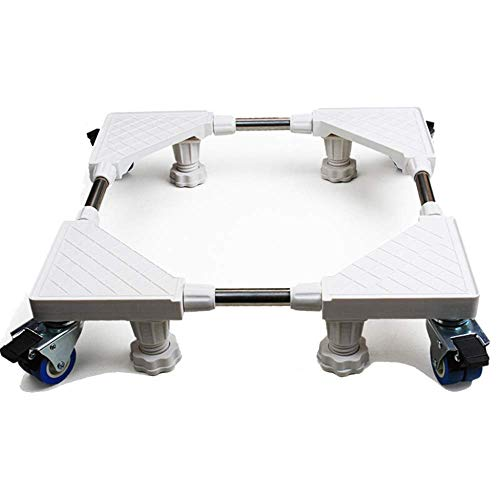 ZHANGMI Carrello Girevole Multifunzionale per carrelli portaUtensile Regolabile Carrello Mobile Base Speciale per Domestico per Lavatrice asciugatrice, 4 * (Piede Fisso) + 4 * Freno (Doppia Rotella)