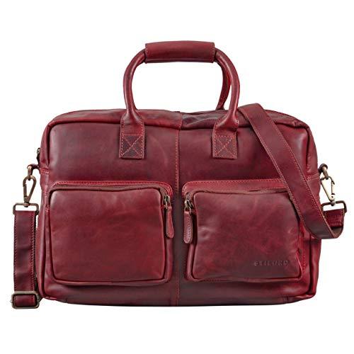 Stilord 'henri' borsa ufficio lavoro in pelle cartella uomo donna con tracolla porta documenti e pc 15.6 pollici grande in cuoio, colore:rosso
