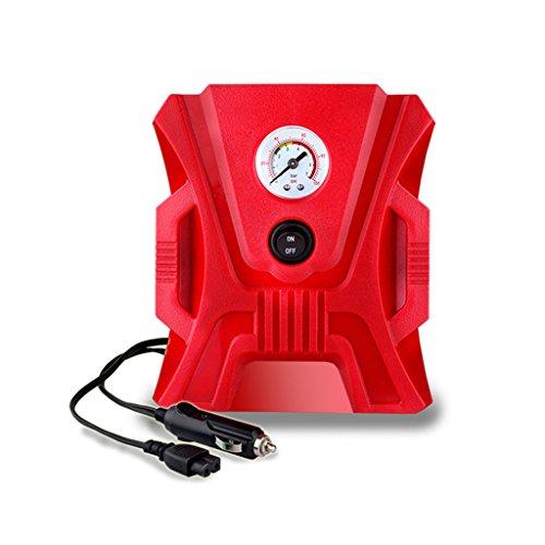JIBO Tragbare Elektrische Auto Luftpumpe Mini Doppelzylinder Digitalanzeige Zeiger LED Leuchtet Schlauchboote Sport Ball Mit Luftpumpe 12V,Red,Pointersection