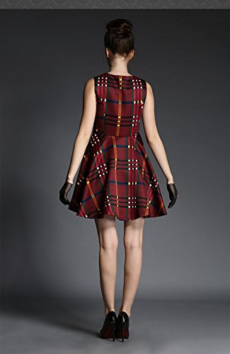 Purpura Erizo Femme Robe Patineuse Courte Col Rond Sans Manche A Rayures Simple Bordeaux