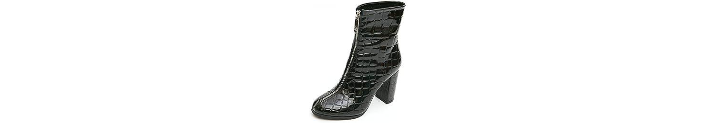 AJUNR-Zapatos De Mujer De Moda Funda Con Cremallera Frontal Cabeza Con Personalidad Zapatos Confortables Botas... -