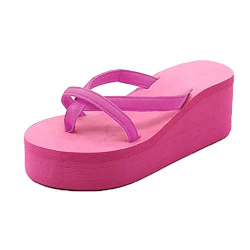 Dorical Damen Zehentrenner Keilabsatz Bohemien Stil Pantoletten,Mutter Wedges Sandalen Sommer Platform Flip Flops Schuhe Sandals Hausschuhe Strandschuhe 35-43 EU(Z2-Hotpink,43 EU)
