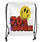 ZKHTO Drawstring Sack Backpacks Bags,70s Party Decorations,70s Boogie Funny Smiling Emoticon Humorous Amusing Vibrant Decorative,Yellow Red Purple Soft Satin,5 Liter Capacity,Adjustable Strin