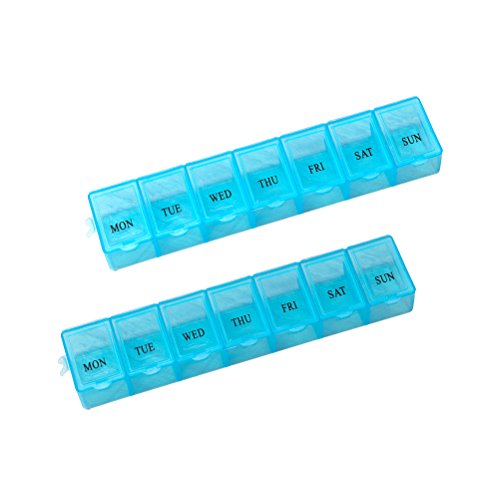 BESTOMZ 2pcs 7 Tage Tablettenbox Pillendose Medikamentenbox Tablettendose Dosierer Pillen Box (blau)