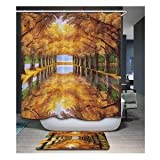 Alcoa Prime Modern Maple Pattern Polyester Fabric Bathroom Shower Curtain Set with Hooks