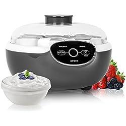 Duronic YM2 Yaourtière électrique avec écran numérique et 8 pots en céramique - Parfait pour préparer des yaourts faits-maison