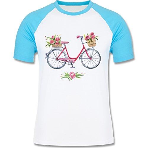 Vintage - Vintage Fahrrad Wasserfarbe Blumen - zweifarbiges Baseballshirt für Männer Weiß/Türkis