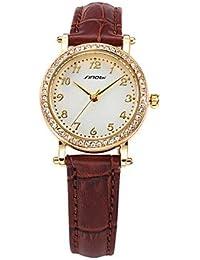 Relojes Hermosos, reloj dama de negocio de cuarzo reloj de pulsera de cuero marrón sinobi 11s8153l02 ( Color : Café )