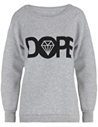 Womens DOPE Diamond Text Slogan Sweater