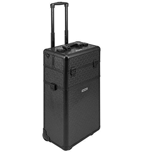 anndora 2 Rad Trolley Pilotenkoffer Beauty Case 60 L 3-D Oberfläche Alu - schwarz Karo + Deckel