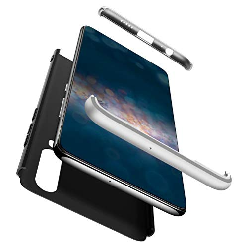 AILZH kompatibel für HandyHülle Huawei P30 lite Hülle+[panzerglas] PC Hartschale 360 Grad Schutzhülle Schutzfolie Anti-Schock Anti-Kratz Stoßfänger Bumper Matt Cover Case(Silber schwarz)