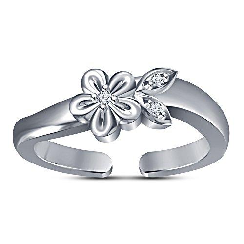 Lilu joyas plata de ley 925flor hoja anillo midi dedos anillos ajustable