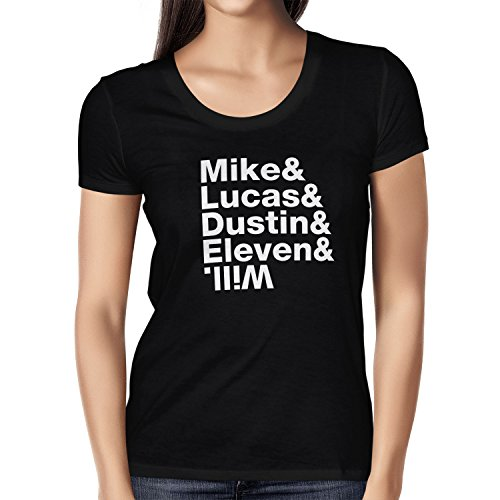 TEXLAB - Mike & Lucas & Dustin & Eleven & Will - Damen T-Shirt, Größe S, schwarz (King Of The Hill Kostüme)