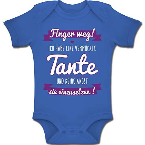 Shirtracer Sprüche Baby - Ich Habe eine verrückte Tante Lila - 3-6 Monate - Royalblau - BZ10 - Baby Body Kurzarm Jungen Mädchen