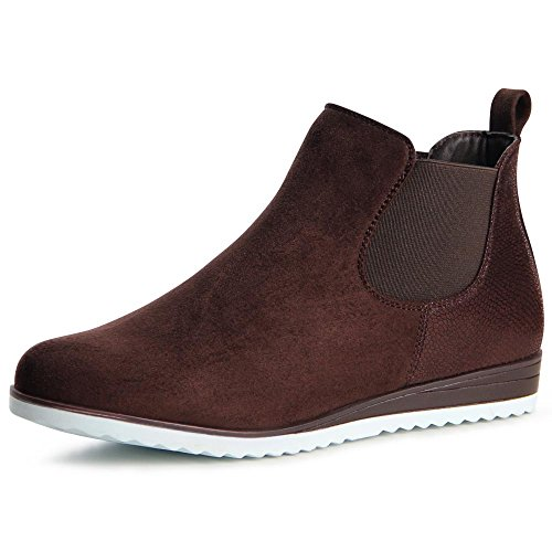 topschuhe24 867 Damen Stiefeletten Chelsea Boots Braun