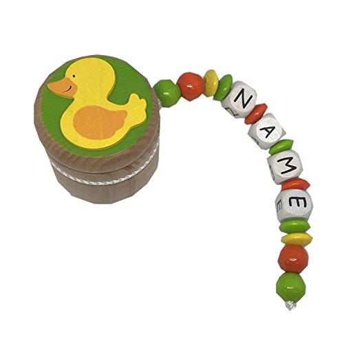 Zahndose mit Namen Holz | inkl. Wunschnamen personalisiert & gefädelt | Motiv Ente gelb grün rot | geprägte Holzbuchstaben Holzperlen Holzlinsen | Zahndöschen Milchzahndose für Mädchen und Jungen -