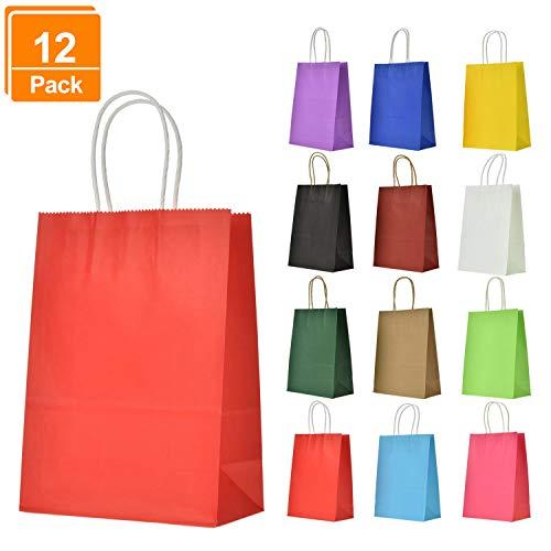 Kraftpapier [12 Stück] |papiertüten mit henkel| |Kraft Tüten| |Mitgebsel Tüten| |Geschenktüte| für Partys, Hochzeiten, feiern, Geschenktüten und Süßigkeiten ()