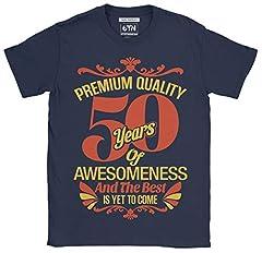 Idea Regalo - 6TN Uomo 50 Anni di Impressionante e Il Meglio Deve Ancora Venire la Maglietta del 50 ° Compleanno (L, Blu Navy)