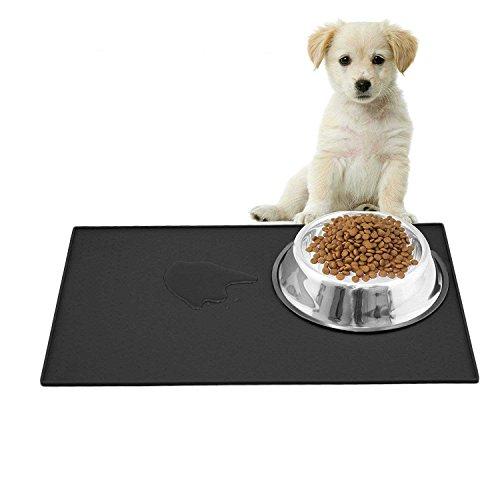 Ewolee Tapis d'alimentation pour Animaux, Tapis Nourriture Chien Imperméable et Antidérapant, Silicone aux Normes FDA de Première Qualité, Dimension de 48x30 Centimètre, No