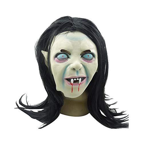 Ouken Halloween-Maske Schwarzhaarig weibliche Zombie Maske Halloween Horror Maske Horror Cosplay Prop Cosplay für Halloween (Weibliche Killer Kostüm)