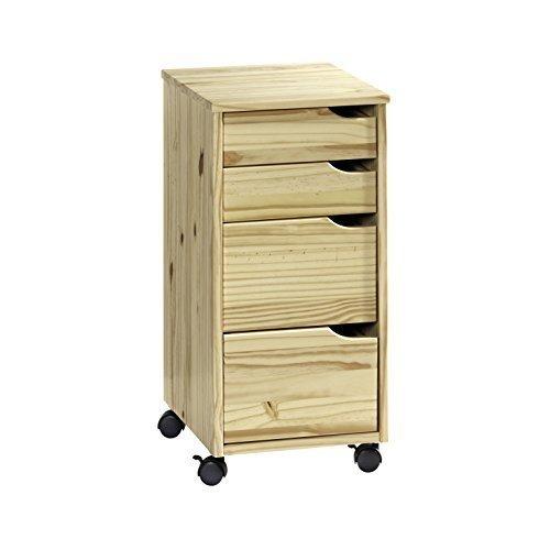 Rollcontainer aus Kiefer-Massivholz mit 4 Schubladen klar lackiert, 66 cm hoch, FCA, Schadstoffgeprüft