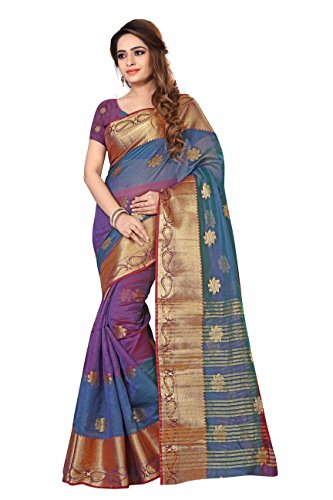 Inheart Women'S Silk Saree With Blouse Piece (Tiranga_Sun_Purple_Purple)
