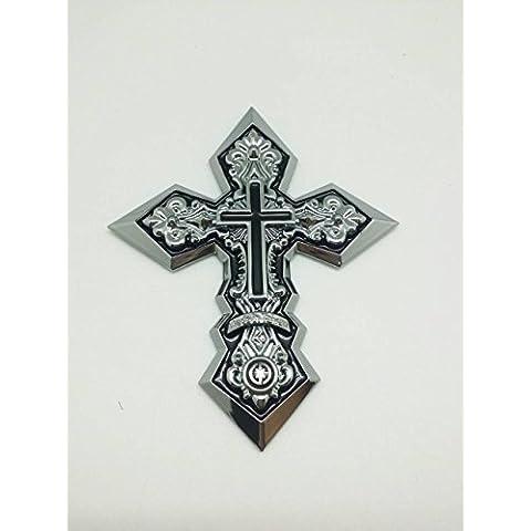 (1) 3d personalizado flexible cromo cruz Emblema de Crucifijo Jesús Insignia Adhesivo