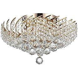 Luxe Plafonnier cristal rond, claire Gouttes de cristal, style chic, métal doré, baroque, 6lumières, excl. E1440W 220V